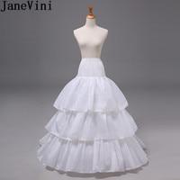 JaneVini 3 Hoops Long Petticoats for Women Wedding Dress Skirt 3 Layers Elastic Waist Underskirt Crinoline Jupon Petticoat Train