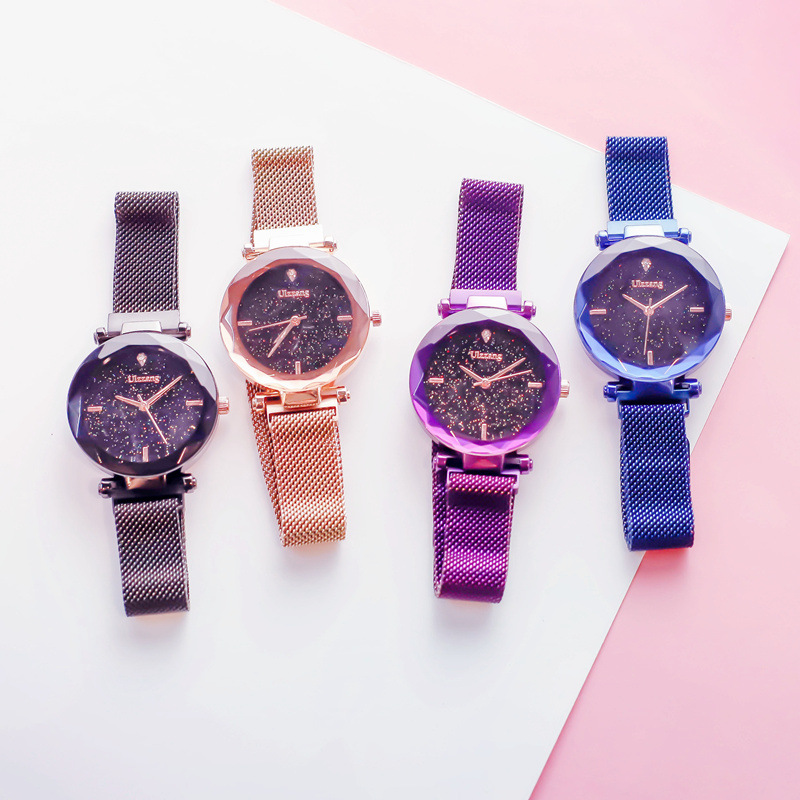 Luxury Starry Sky Magnetic Ladies Clock Rose Gold Women Watches Fashion