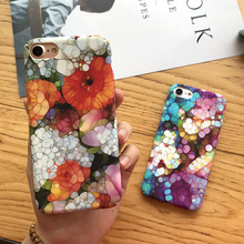 SZYHOME Phone Cases For iPhone X 6 7 8 Plus Vintage Fashion Art Flower Colorful Frosted Plastic Mobile Phone Housings Cover