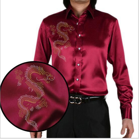 20 цвет корейских мужчин высокое качество Горный Хрусталь Китайский дракон шаблон шелковая рубашка мужчин развивать нравственность рубашку плюс размер S-5XL