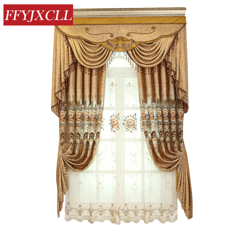Classic Embroidered Coffee Color Curtains Blackout For living Room Bedroom Kitchen Curtains Tulle  Jacquard Drapes Home Decor window valance