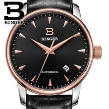 Швейцария часы мужчины люксовый brand18K золотые наручные часы бингер бизнес-механические наручные часы кожаный ремешок B5005B-6