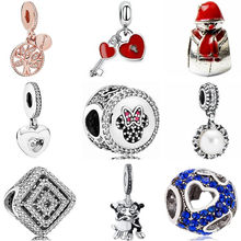 Simple Style Crystal Tree Key Frog Butterfly Snowman Simulated Pearl Mickey Bead Fit Pandora Charms for Women DIY Jewelry(China)