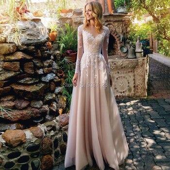 Champagne A Line Wedding Dresses Lace Appliques Floor Length Long Sleeves Scoop Vestido De Noiva Bridal Gown Robe De Mariée 1