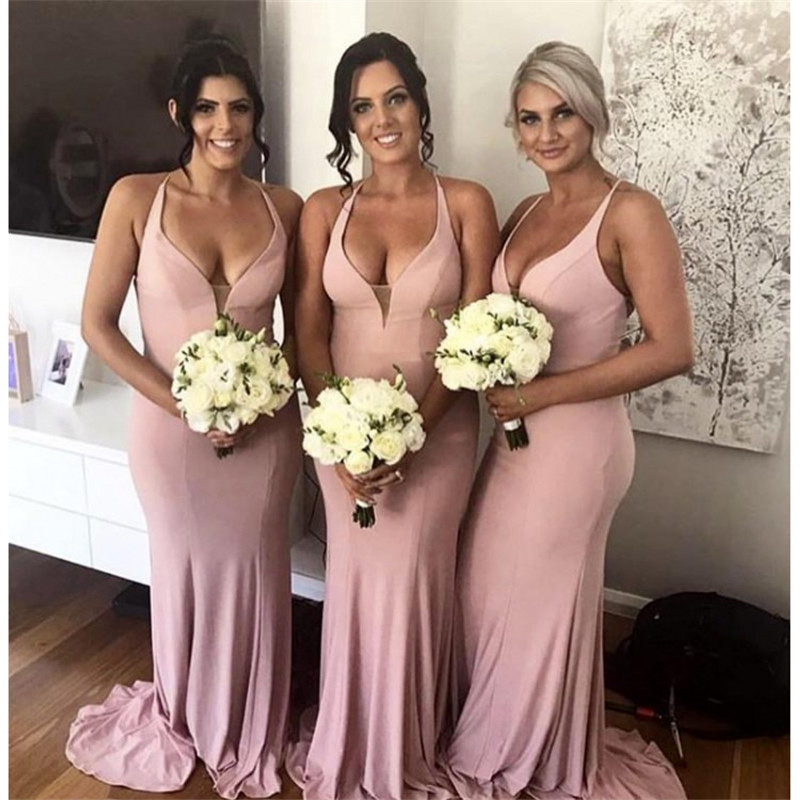 Sexy Deep V-Neck Wedding   Bridesmaid     Dress   Charming Pink Halter Sleeveless   Dress   for Wedding Party Robe Demoiselle D'honneur