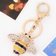 Enamel Cute Bee Crystal Keyrings Bee Honey Keychains Keyring Women Car Bag Charms Trinket Key Ring Pendant Jewelry CH3502(China)