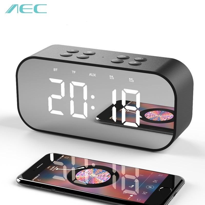 AEC Bluetooth 5,0 Портативный беспроводной Bluetooth динамик Колонка сабвуфер звуковая коробка светодио дный время будильник Зеркало для ноутбука тел...