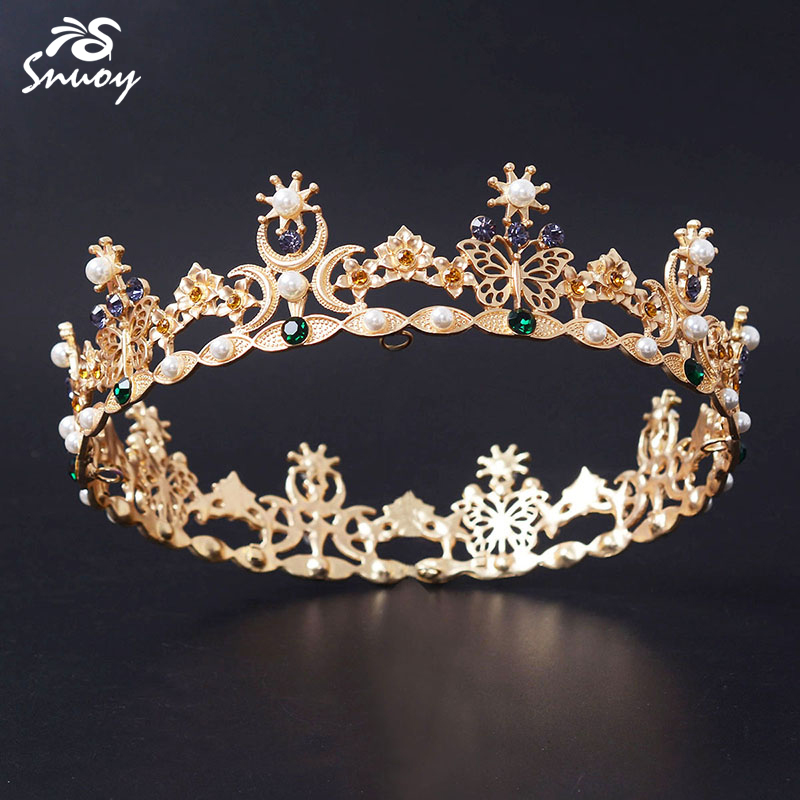 Snuoy Gold Round Queen/King Tiaras & Crown Full Circle Vintage Baroque Crown Butterfly with Purple Green Beads & Imitation Pearl pearl king 150g