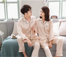 BZEL Couple Pajamas Sets Autumn Men And Women Silk Satin Pijamas Sleepwear Lover Home Night Suit Sleep Lounge Big Size M-XXXL