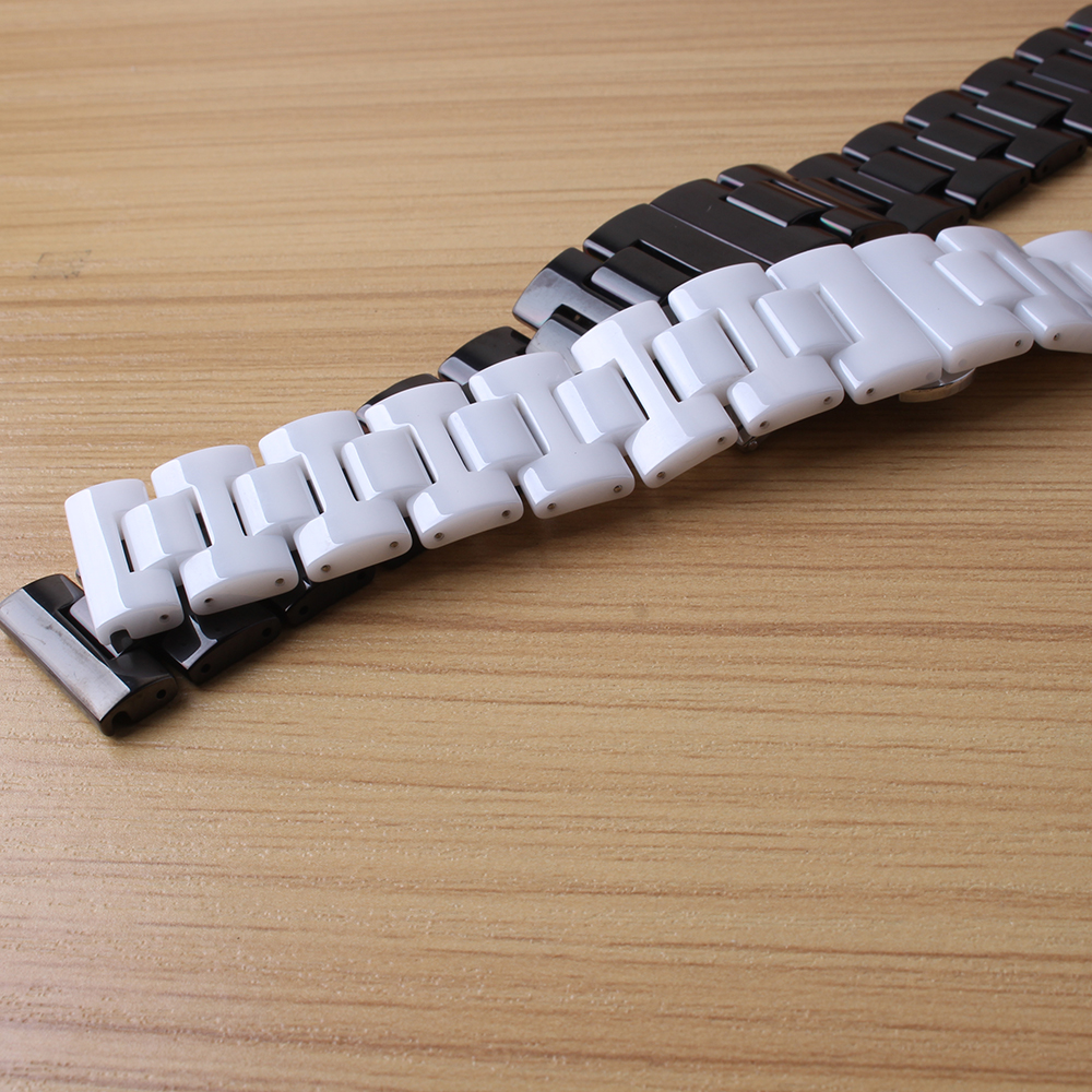 Watchbands Ceramic Promotion Watches strap bracelets fashion black white 20mm 22mm for Gear S2 S3 S4 Replecement smart watchband gold watchband for luxury watches brand stylish watches accessories 18mm 20mm 22mm fashion thiner bracelets promotion price new