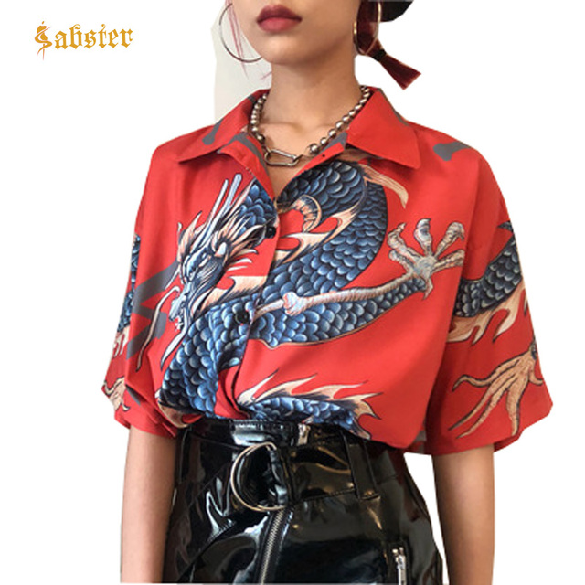 2018 Summer Women Tops Harajuku Blouse Women Dragon Print Short Sleeve Blouses Shirts Female Streetwear kz022