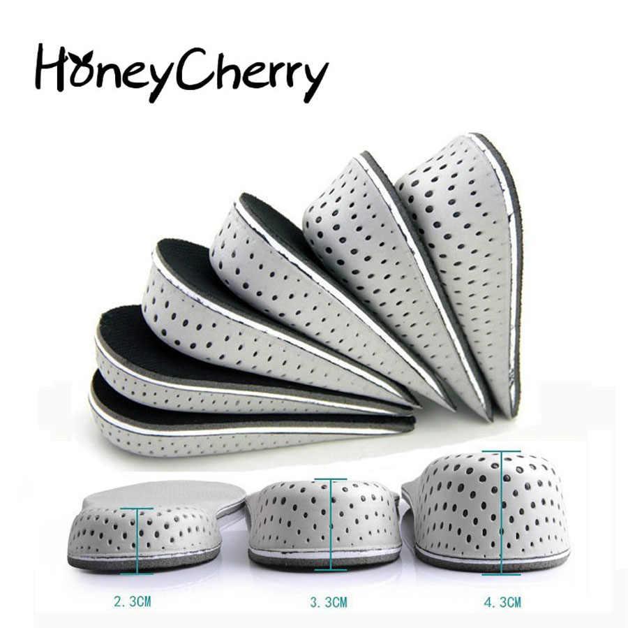 1 คู่รองเท้า Insoles Breathable พื้นรองเท้าเพิ่มความสูง Heel ใส่รองเท้า Pad เบาะ Unisex 2-4 ซม.ความสูงเพิ่ม Insoles