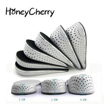 1 para wkładki do butów oddychająca pół wkładka wysokość wkładka wkładka do butów sportowych poduszka Unisex 2-4cm wysokość zwiększ wkładki tanie i dobre opinie HoneyCherry CN (pochodzenie) 1 cm-3 cm Średnie (b m) Stałe Oddychające Wysokość zwiększenie