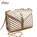2017 New arrive handbags fashion gold metal chain tassel stripe quilted flap bag women messenger bags