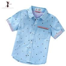 D'été À Manches Courtes Garçon de Chemises Casual Turn-down Col Camisa Masculina Blouses pour Enfants Enfants Vêtements 1461