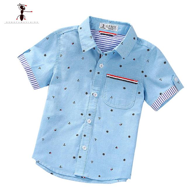 Verano de Manga Corta Camisetas del muchacho Ocasional Da Vuelta-abajo Camisa Masculina Blusas para Niños Kids Clothes 1461