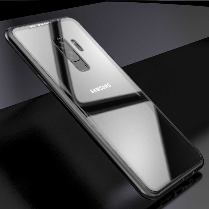 hot sale online 83f6b 9d854 S9+ Magnetic Adsorption Case for Samsung Galaxy S9 S8 Plus S7 Edge Note 9 8  Tempered Glass + Built-in Magnet Case Metal Cover