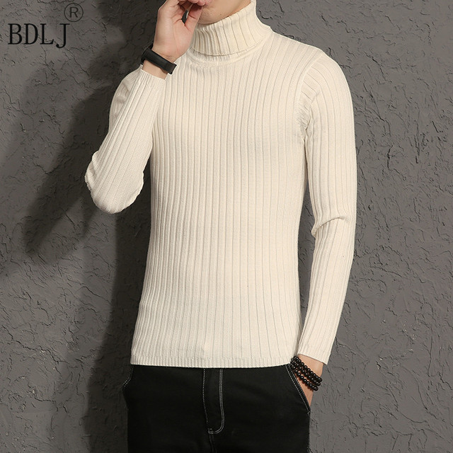 34b7316cba Autumn And Winter Thick Warm Cashmere Sweater Men Turtleneck Brand Mens  Sweaters Slim Fit Pullover Men Knitwear Double Collar