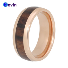 Wood Ring Rose Gold Tungsten Wedding Band For Men Women Dome With Real Inlay Comfort Fit