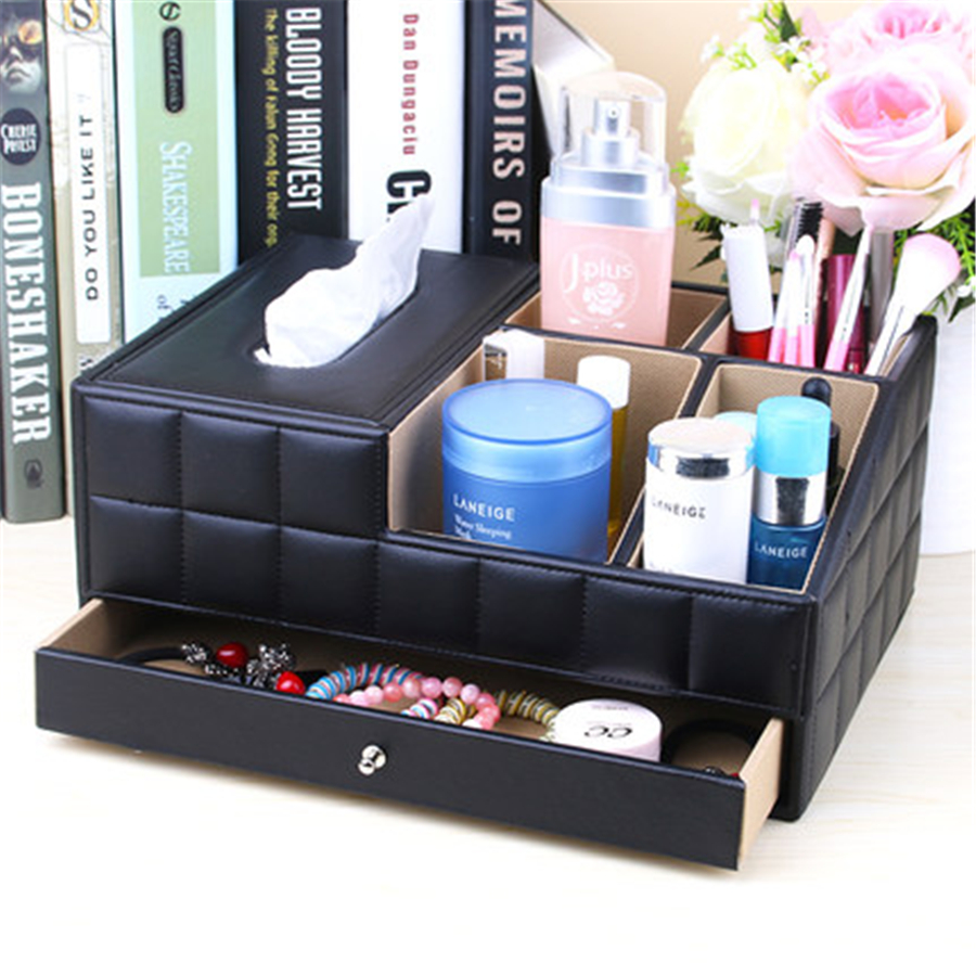 Leather Drawer Cosmetic Boxes Sets Desktop Storage Office Organizer Multifunction Table Debris Finishing Storage Box DDP75