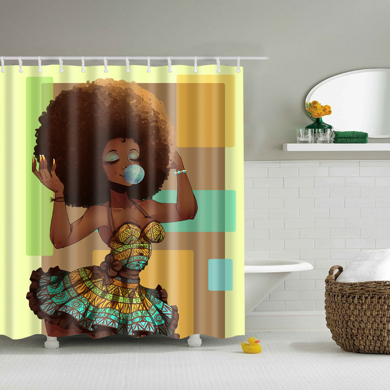 3d Black Girl African Shower Curtain With 12pcs Hooks Waterproof