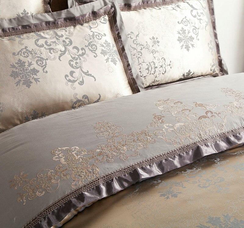 Klassische Oriental Stickerei Jacquard Luxus Bettwäsche set König Königin größe 4/6 Pcs Seide Baumwolle Satin Bett gesetzt Bettdecke abdeckung Bettlaken - 3