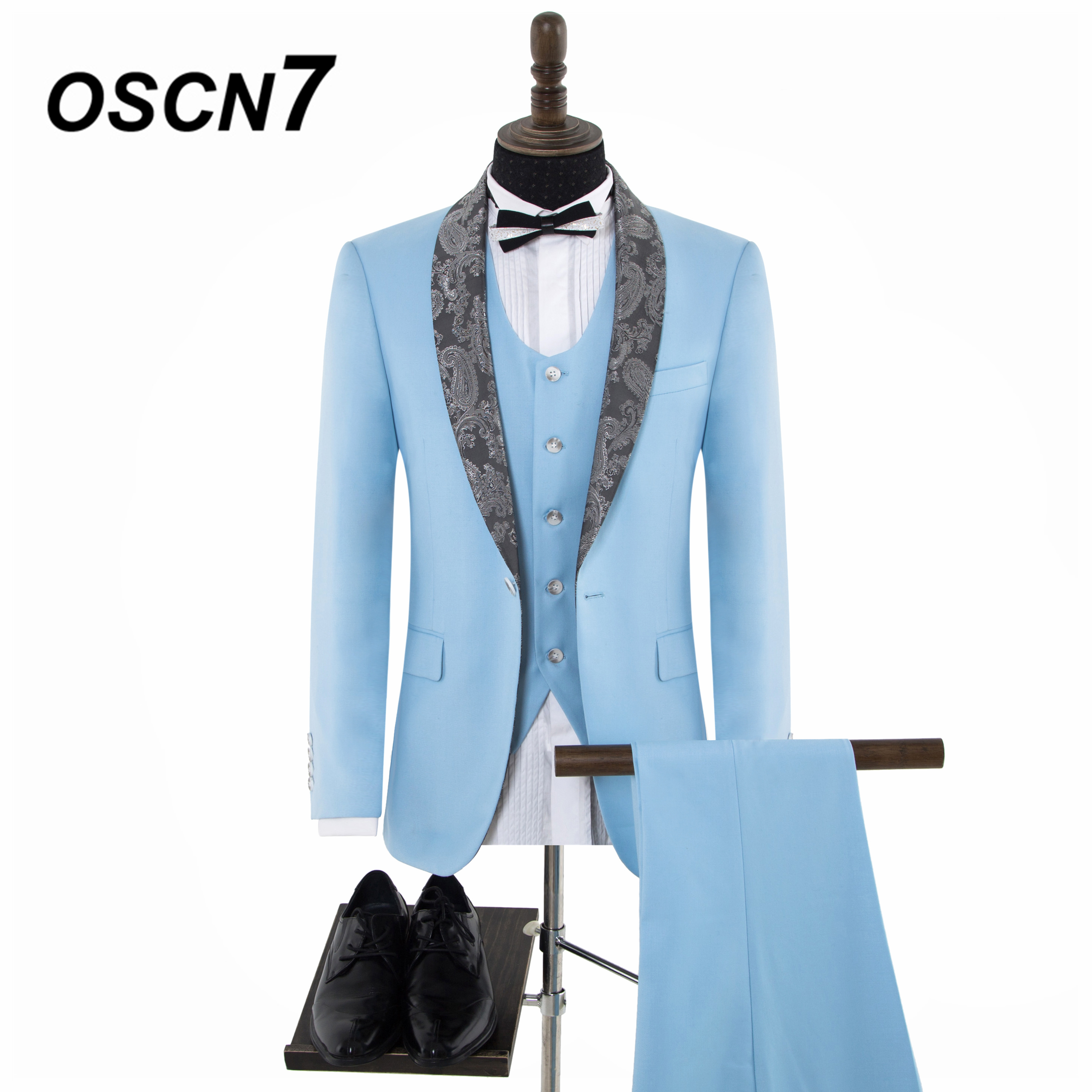 2ef6ac410de OSCN7 Custom Wool High end Cashew print Shawl Lapels Tailor Made Suits Men  3PCS Suit Men Brand Clothing LB WVT 0008 80-in Tailor-made Suits from Men s  ...