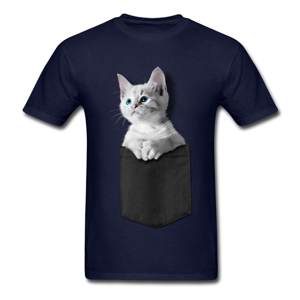 Pocket Kitten 100% Cotton Men Short Sleeve Tops Tees Normal NEW YEAR DAY Tshirts Custom T-shirts 2018 Newest Round Collar Pocket Kitten navy