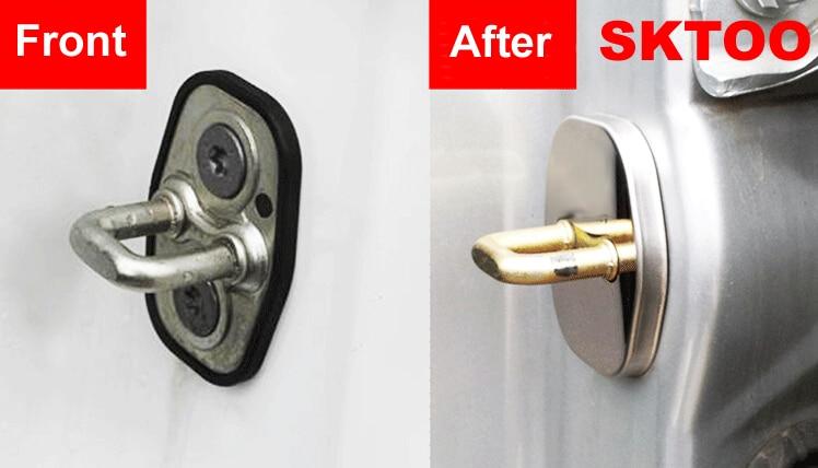 SKTOO Car styling cubierta de la cerradura de la puerta de acero inoxidable 4 unids / set para 2012 2013 2014 Peugeot 3008 2008 308 408 508 301 accesorios