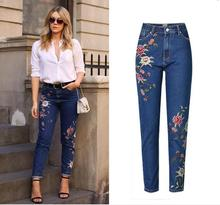 купить Fashion women's high-waisted flower embroidery jeans Chic Slim fit pencil pants European style ninth denim pants дешево