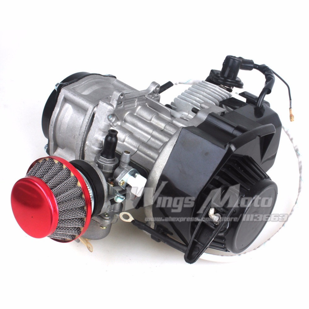 47CC 2-stroke Electric Start Engine Motor Pocket Mini Bike Scooter ATV 7T 25H Chain 40MM Bore Racing Air Filter boat motor t40 05090200 cdi unit for parsun hdx 2 stroke 40cv t40 t40bm t40bw t40g t30bm engine 2 stroke c d i assy g type