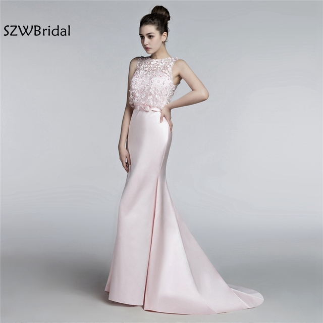Vestido De Festa High Neck Light Pink Formal Dress 2018 Lace Evening