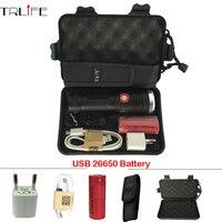 Lantern Mobile Power USB Flashlight LED Torch CREE XM L2 Waterproof 8000 Lumens 26650 Rechargeable Battery