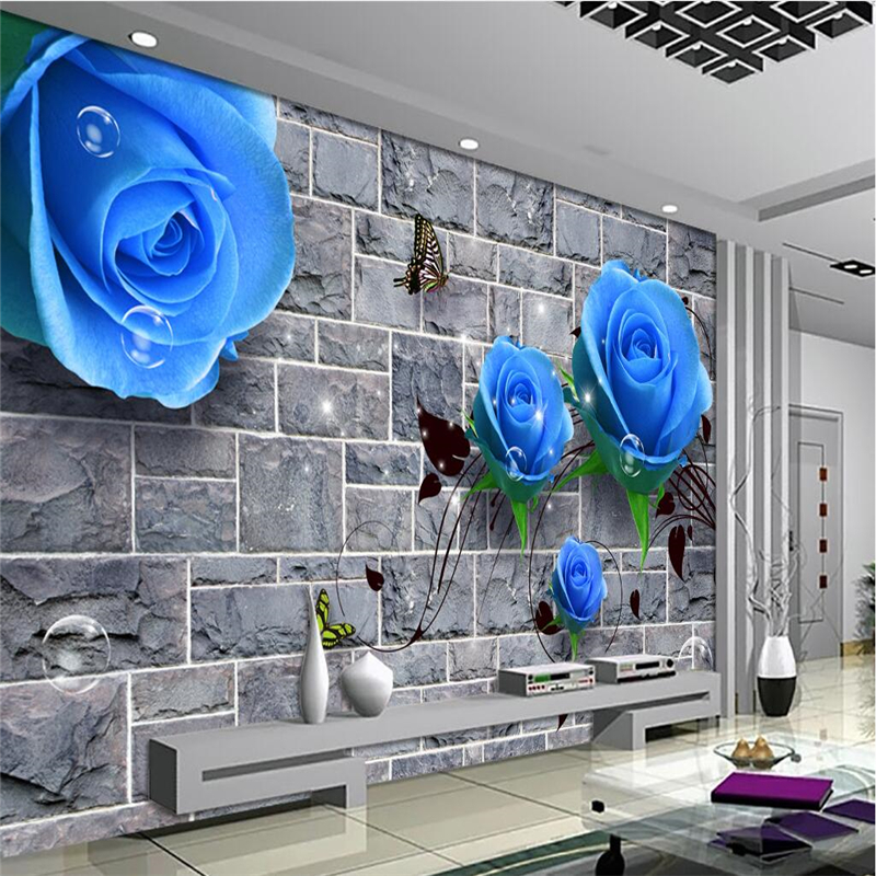 beibehang Customize any size mural wallpaper HD Blue Rose Brick Wall 3D Living Room Bedroom TV Background Wall beibehang customize universe star large mural bedroom living room tv background wallpaper minimalist 3d sky ceiling wallpaper