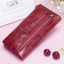 Women Long Zipper Genuine Leather Wallet (6 colors)