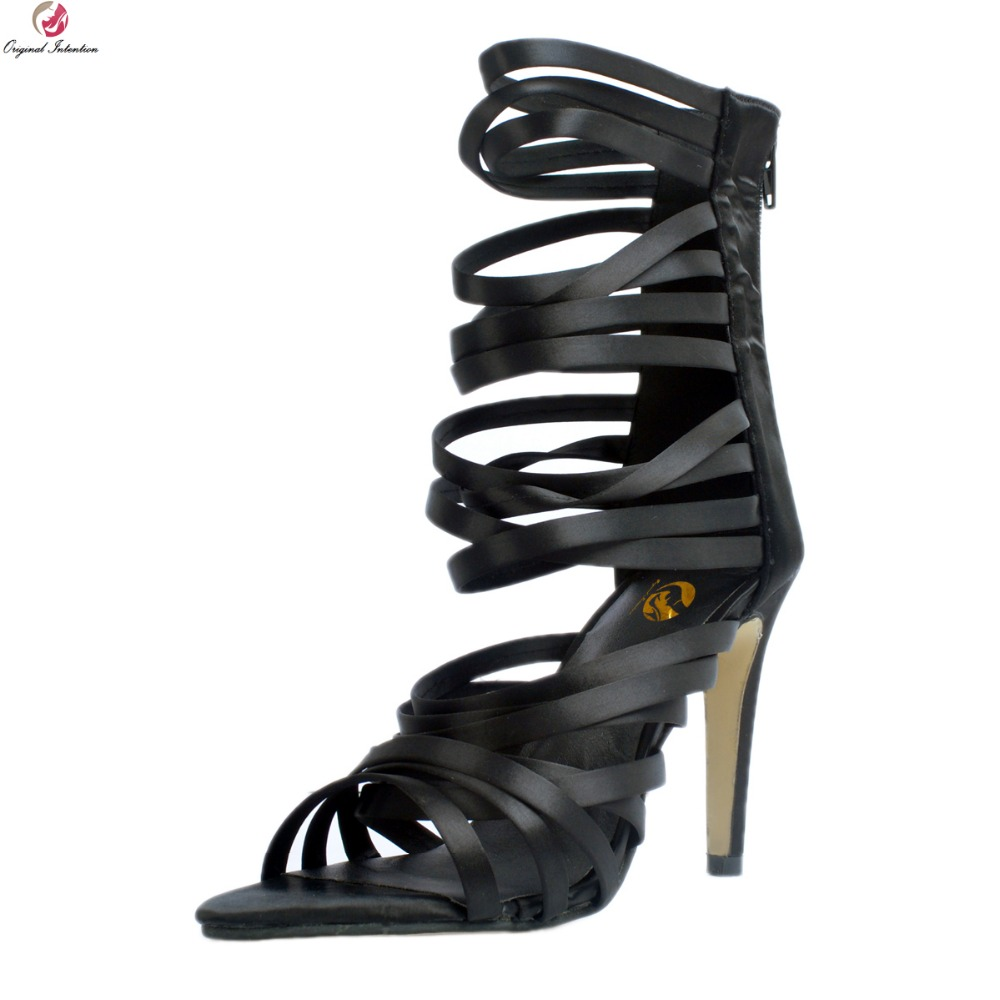 Original Intention New Sexy Women Sandals Elegant Open Toe Thin Heels Sandals High-quality Black Shoes Woman Plus US Size 4-15 hot selling sexy sloid thin heels sandals woman new desig lace red white black sandals peep toe elegant for women free sipping