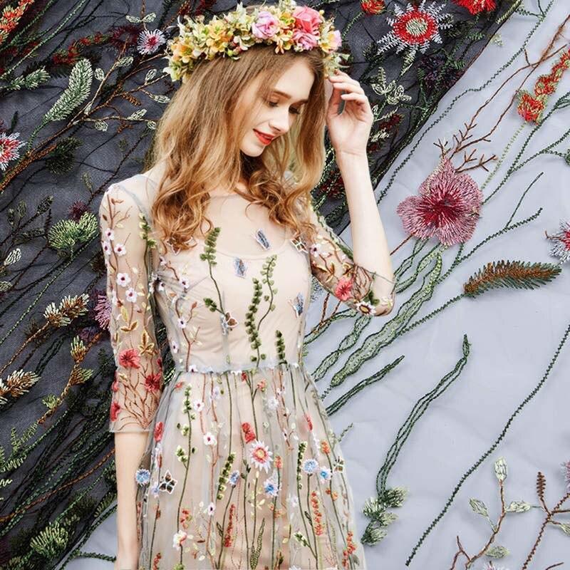 Tule Casamento Floral Laço de Tecido para o Vestido africano, Rendas Bordado Cortina de Pano, Vestuário Costura Patchwork Diy Tecido Tissus