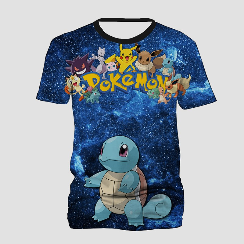 Pokemon Squirtle Tee Tops Galaxy Space 3D Print T Shirt for Women Men Streetwear Casual T Shirts Summer Short Sleeve T-shirt image