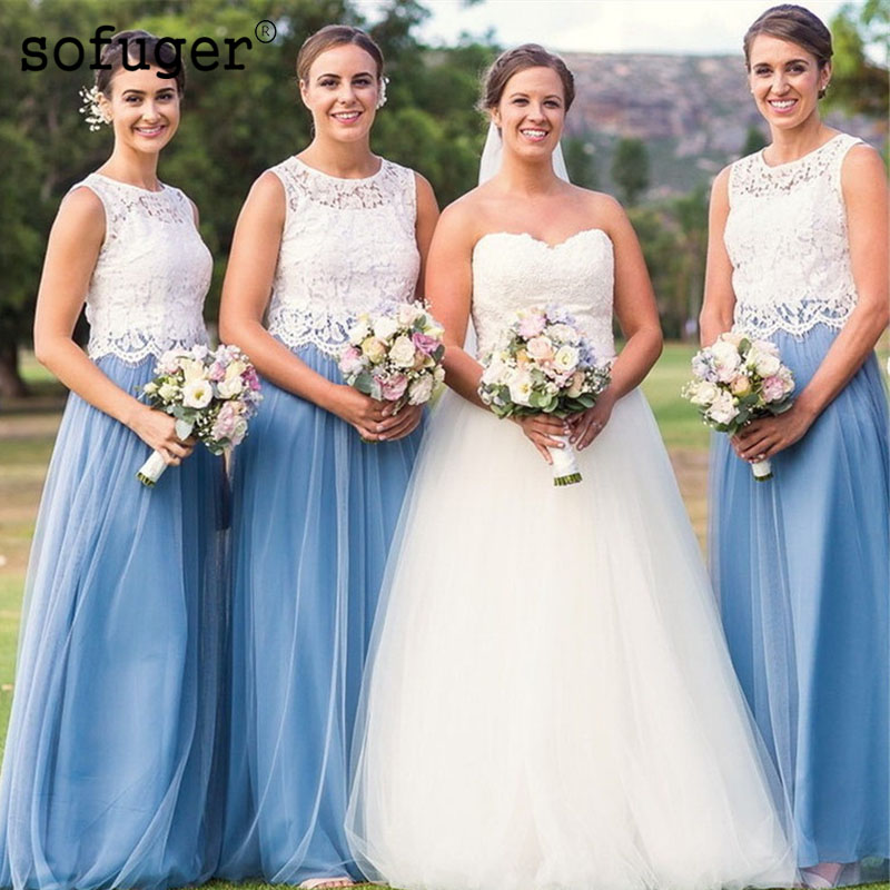 Sky Blue Girl Attractive Scoop Tulle Special Occasion Spaghetti Straps   Bridesmaid     Dresses   Formal Vestidos Wedding Party   Dresses