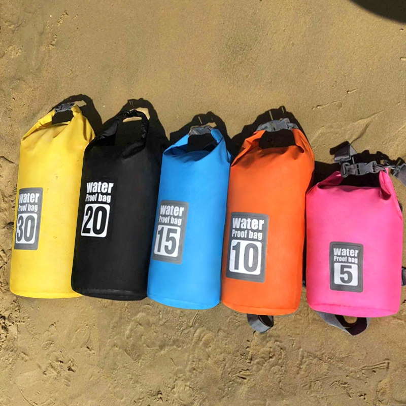 5L 30L PVC Waterproof Swimming Bag outdoor drifting dry bag sandbag camping bicycle backpack Foldable storage bag Travel rowing in Swimming Bags from Sports Entertainment