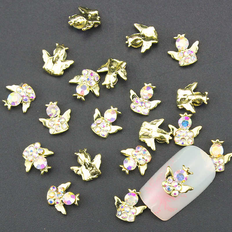 10 個ゴールデン合金のための 3d ネイルアート角翼デザインの装飾マニキュアチャーム、ラインストーン爪に用品 TN1379