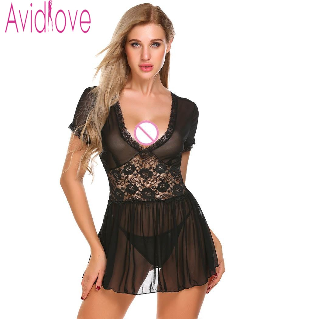 91a23550aa9 Avidlove Lingerie Sexy Erotic Hot Lace Mesh Babydoll Dress Chemise Women  Transparent Sex Costume Nightdress Porno