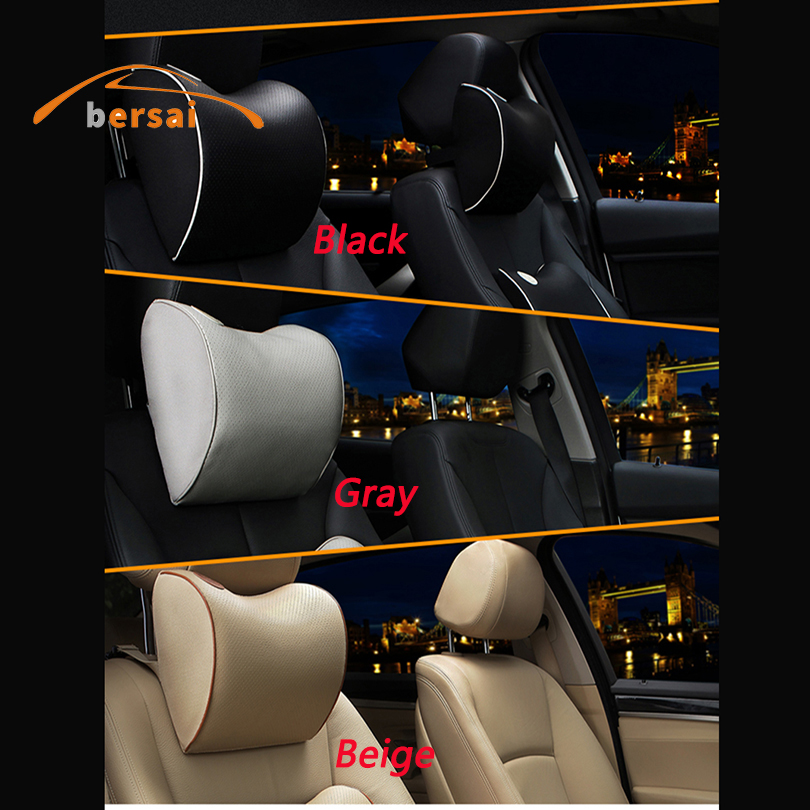 2pcs PU Soft Leather Racing Car Embroidery Neck Pillows Headrests For T New