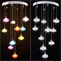 Modern Minimalist Restaurant LED Living Room Pendant Light Bedroom Lamp Glass Ball Bubble Lamp Creative A