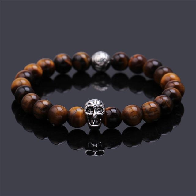 Skull Bracelet Men Jewelry Pulseras Mujer Buddha Elastic Bracelets Lava Stone For