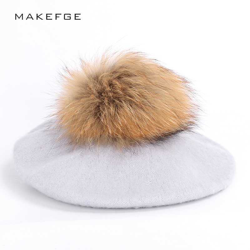 ab254b00801a82 Fashion outdoor beret ladies raccoon fur pom-pom painter hats autumn and winter  warm solid