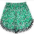 Novelty Bohemian Shorts Women Beach Tassel Trousers Woman National Pattern Feminino Wind Printed Broadcloth Plus Size Short D018