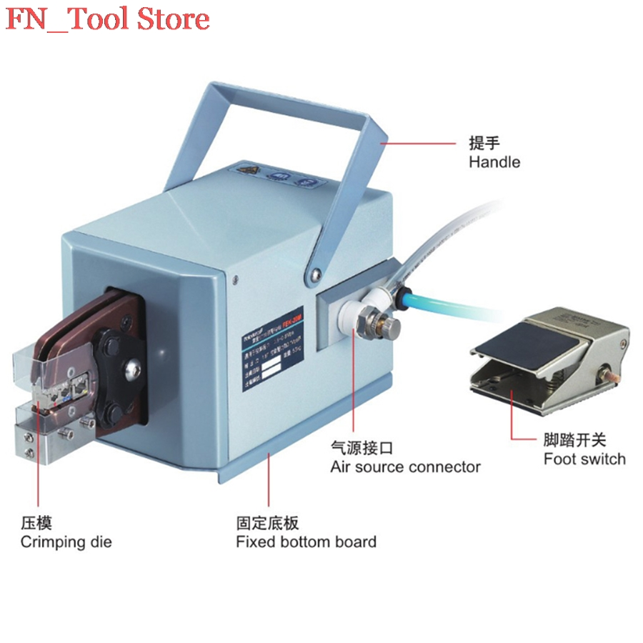 лучшая цена FASEN FEK-20M High Quality Pneumatic Type Crimping Machine Air Crimper for Different Terminals Cable tools Wire Crimp Tool