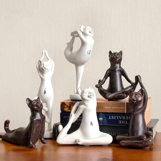 Living Room Ornaments Dark Purple Ideas American Retro Yoga Cat Figurine Creative Home Decoration Children S