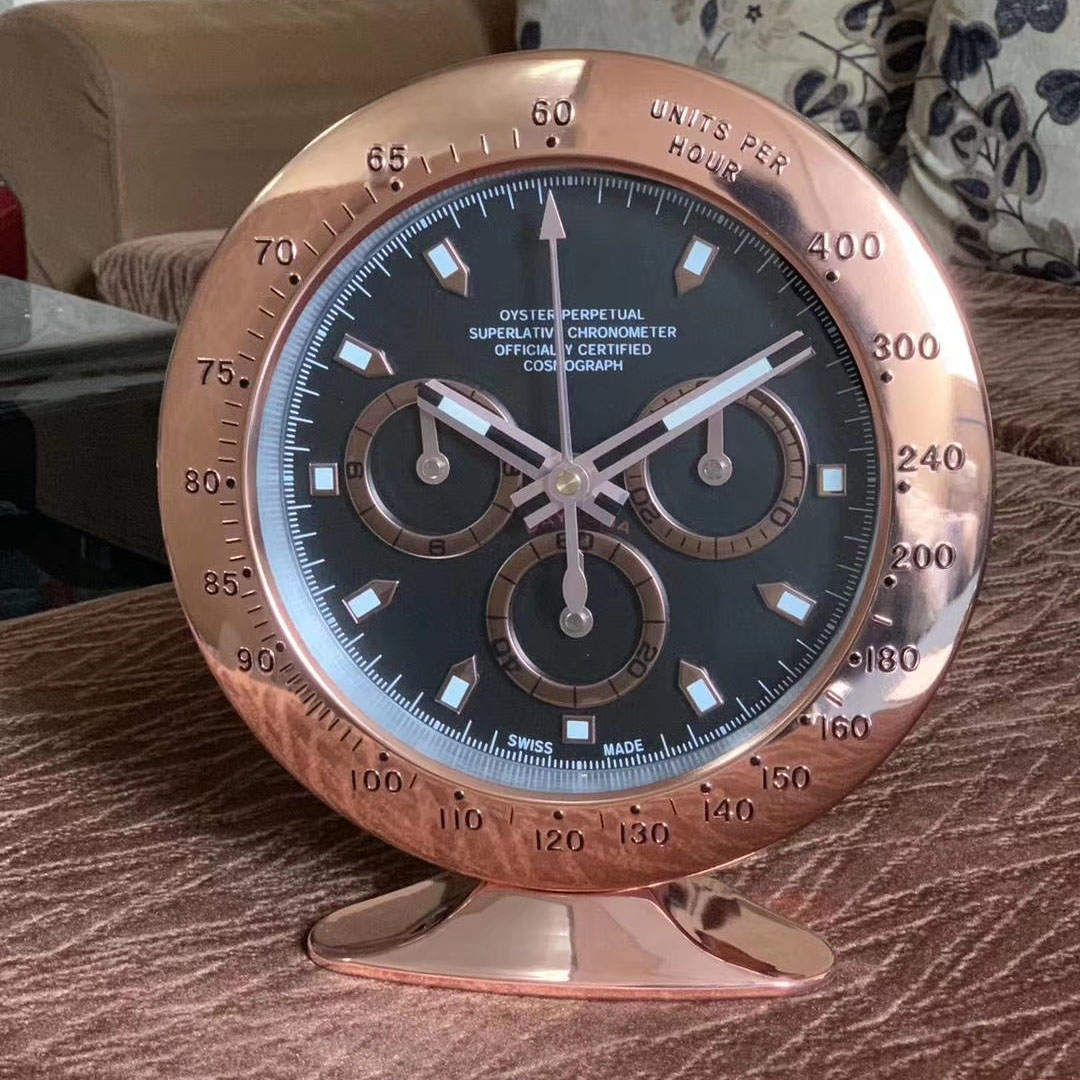 Metal Watch Shape Table Clock with Glowing Features with Silent Mechanism Art Watch Clocks on The Wall with Logo